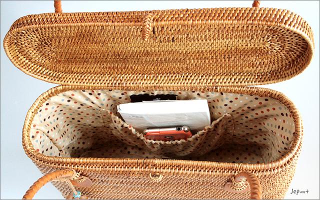アタバッグ■アタ製バリ雑貨 フタ付き肩掛けかごアタバッグ ナチュラル