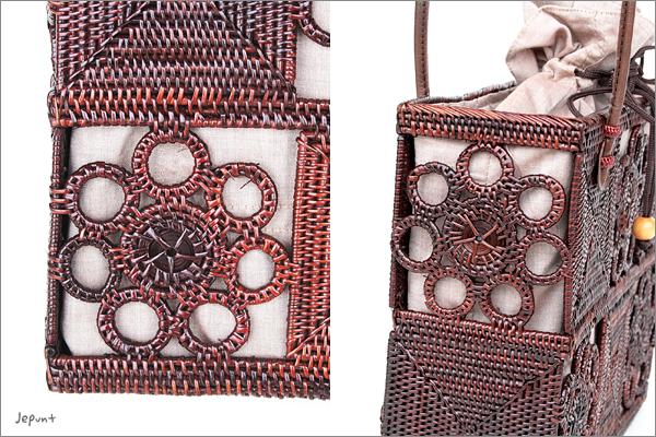 アタバッグ■アタ製 巾着フタ付き肩掛け角型 花模様バッグ ブラウン