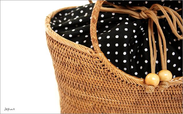 アタバッグ■アタ製バリ雑貨/巾着フタ付き バケツ型手提げかごアタバッグ ナチュラル