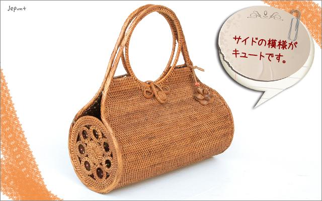 アタバッグ■アタ製バリ雑貨/ドラム型 手提げかごアタバッグ ナチュラル