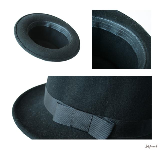帽子■男女兼用 ウールフェルトハット(中折れ帽)/ブラック