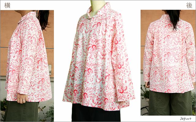 トップス■バティック柄 丸襟ブラウス(ピンク)
