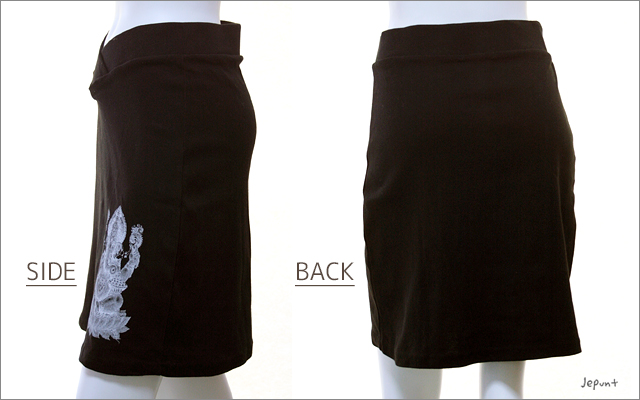 スカート■ガネーシャプリントのストレッチミニスカート(ブラック)